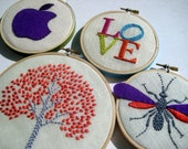 Embroidery Hoop Art - Tree, LOVE, Apple, Wasp (four pieces) hand embroidered