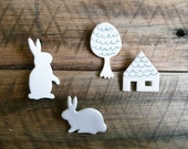 White Bunny Rabbit Brooch - andODesign