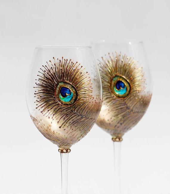 Очки Павлин вина Ручная роспись медь, бирюзовый, фиолетовый, золотой Комплект из 2