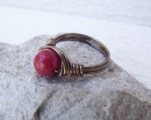 Dark pink jade and silver wire wrapped ring free shipping