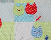 Owls on a tree applique quilt  baby boys quilt blanket blue and green kids quilt owl quilt owl blanket - SweetnCozy
