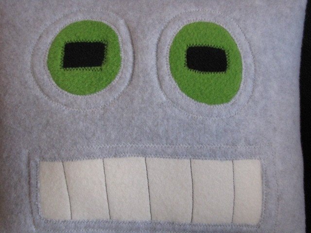 Robot Pillow Good Geek Chic Home Decor by freakyfleece on Etsy
