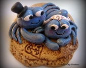Wedding Cake Topper, Custom Blue Crabs in the Sand, Personalized Polymer Clay Wedding/Anniversary Keepsake, Sea, Ocean, Crabs - trinasclaycreations