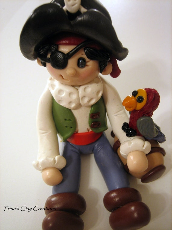 Polymer Clay Little Pirate with Parrot