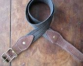 Grey Denim and Leather Belt // Hand Stitched // Made to Measure