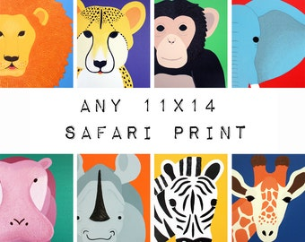 Rhino nursery print. 8x10 safari artwork jungle art zoo by Wallfry