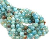 Agate, Fired, Aqua, Light Blue/Brown, Round, Faceted, 8mm, Small, Gemstone Beads, Full Strand, 48pcs - ID 558-6 - BeadsAndHoney