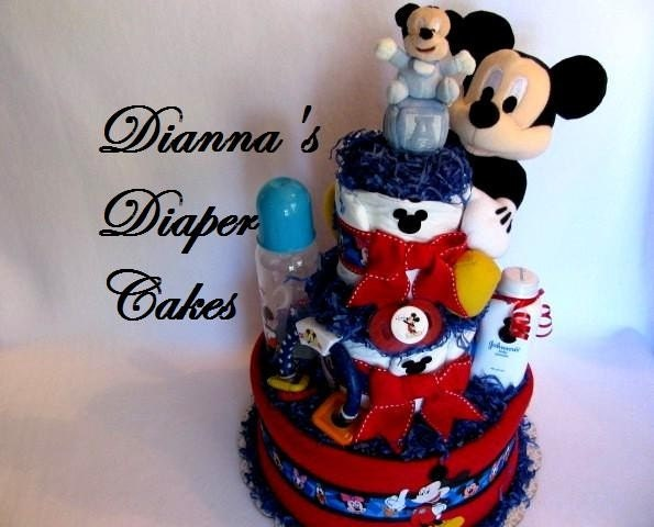 mickey mouse baby diaper cake shower gift by diannasdiapercakes cake