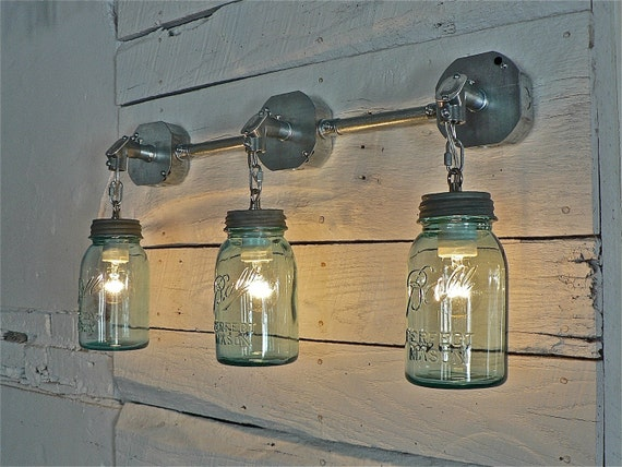 Handcrafted Blue Green Vintage Ball Mason Three Jar Sconce Light