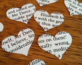 novel wedding heart confetti from Pride and Prejudice by Jane Austen - Mr. Darcy - 500 heart shaped confetti - anovelamore