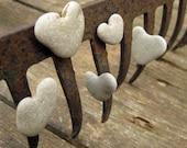 5 Unusual magnets - natural Heart Shaped beach rocks - MedBeachStones