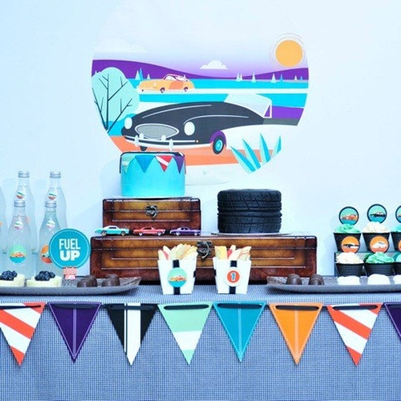 Vintage Car Birthday Value Package DIY Printable Party Collection by Spaceships and Laser Beams