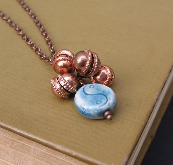 Kerani - Copper Bells & Raku Yin Yang Bead - NECKLACE