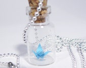Miniature Origami Crane Bottle Pendant Necklace Turquoise Blue - CMCCreations