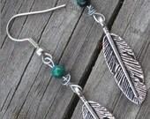 Turquoise Feather Earrings - WalkingSoftly