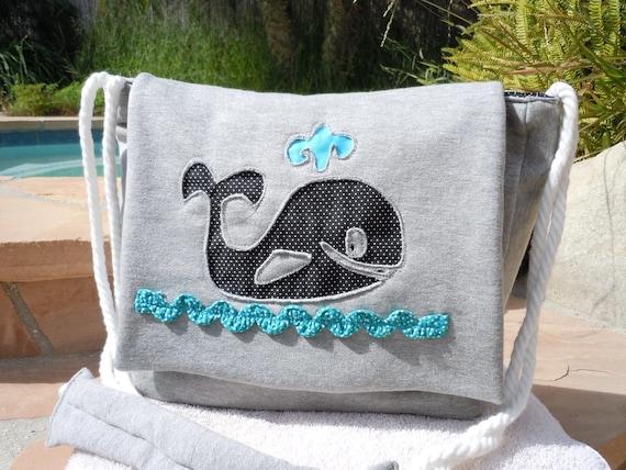 Whale Nautical Beach Bag