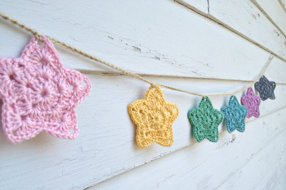 Star Bunting - Crochet Garland - Pretty Pastel Colors
