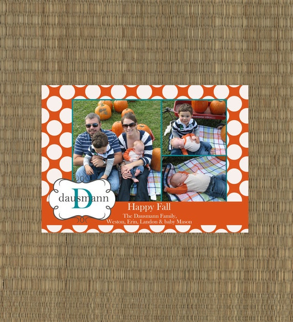 Printable Fall Card - Fall Family Card - Thanksgiving Card - Polka Dot Fall Card
