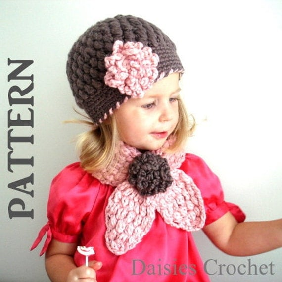 PATTERNS PDF Crochet Hat Scarf set Newborn Infant Toddler Kids  Crochet Scarf Kids