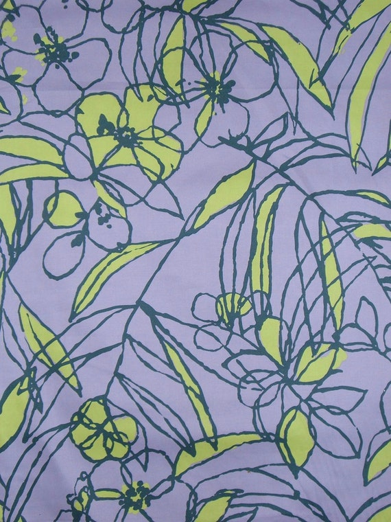 Orchid and Chartreuse Floral Print Cotton Stretch Sateen Fabric--One  Yard