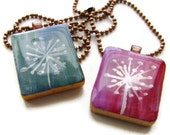 Dandelion Scrabble Necklace Hand Painted Vintage Scrabble Tile in Teal or Fuchsia -Dandelion Wishes - heversonart