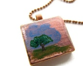 Apple Tree Necklace Hand Painted Vintage Scrabble Tile with Copper Leaf - heversonart