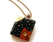 Owl Scrabble Tile Necklace Hand Painted Vintage Tile -Hoot at the Moon - heversonart