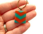 Orange and Teal Chevron Scrabble Necklace Hand Painted on a Vintage Scrabble Tile - heversonart