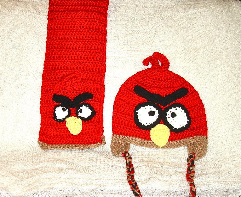 Crochet Scarf and Hat Set Red Children Women Men Teen Animal  Crochet Scarves And Hats