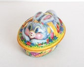 Vintage 60s Plastic Easter Bunny Bowl Candy Container - genalovesvintage