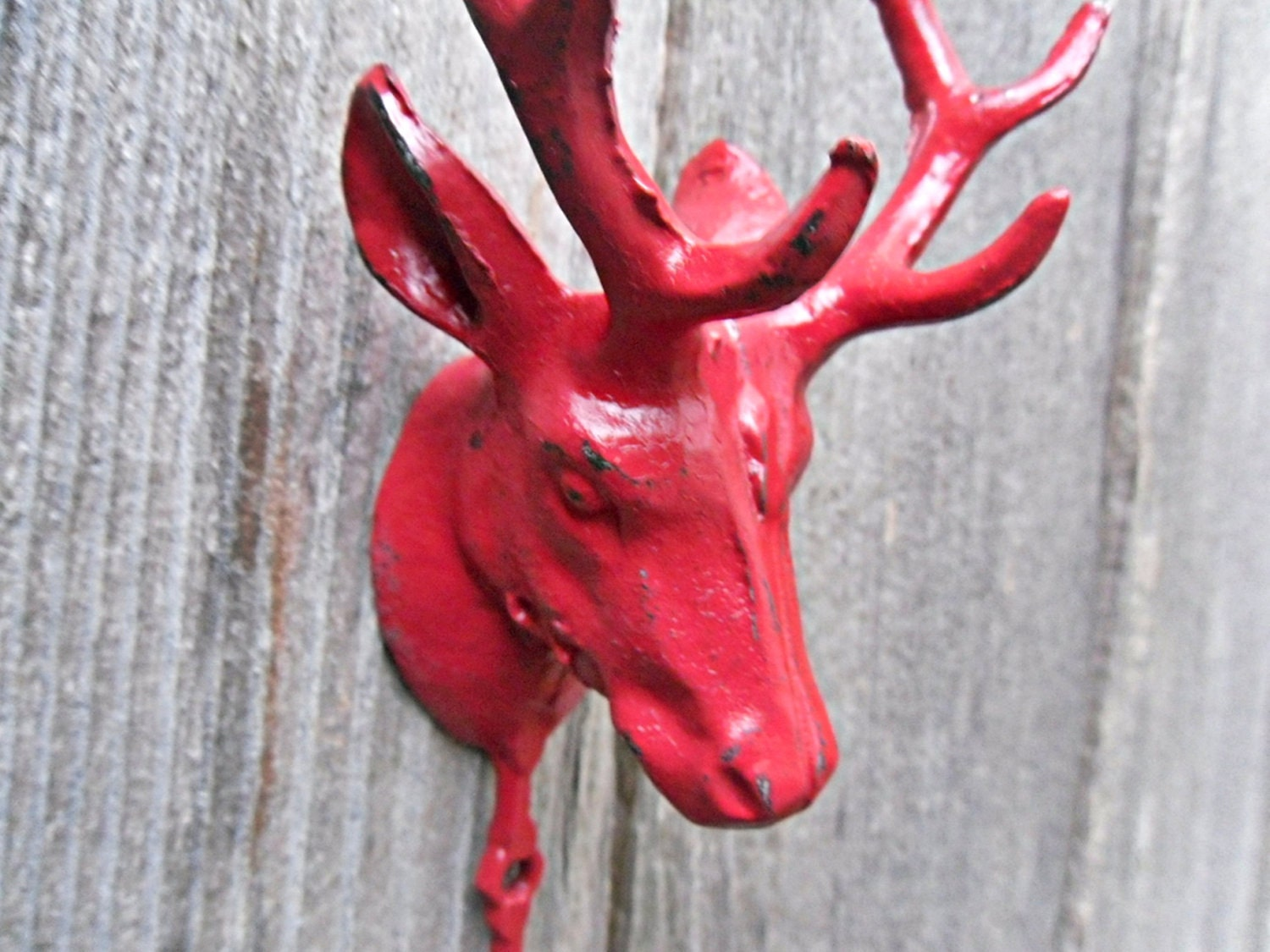 Deer Hook / Wall Decor / Antlers / Red Wall by Theshabbyshak