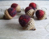 Felted wool acorns, set of 6, marbled dark red and black color - HouseOfMoss
