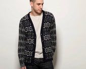 Jacquard men cardigan, blue jumper, mens sweater