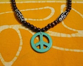 Peace Sign Dzi Prayer Bead Necklace