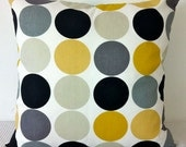 Retro dots in yellow mustard, greys, black and white cushion Cover, contemporary designer fabric slip cover, throw pillow