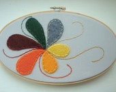 Embroidered Flower Design Hoop Art