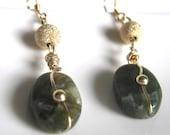 Gold Filled Green Serpentine gemstone earrings - GREEN GOLD -  stardust earrings