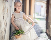 Fairy tale Linen girl dress -  Rustic Flower girl dress - Children spring clothing - lefthandedcraftclub