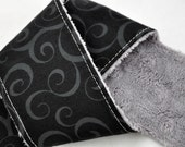 Camera Strap Cover - dSLR / SLR Black Swirl Grey Minky. Gift for Men Under 25 Dollars - Spring Accessories Spring Fashion