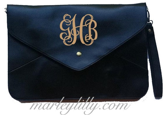 Black Monogrammed Penny Cross Body Clutch Bag