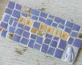 Mosaic Bath Sign - The Bath - Shabby Chic Mosaic Sign -  de Bain  -  Periwinkle -  Treasury Featured - dkshopgirl