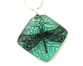 Dichroic Fused Glass Jewelry Fused Dichroic Glass Pendant Necklace dragonfly turquoise blue purple green P562 - SassySpark