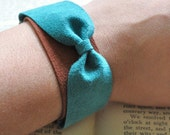 Leather Bracelet - Suede Bow in Turquoise and Rust - zachaliz