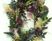 Spring Summer Wreath Feathered Purple Lime Green Door Wreath - TheJourneyAccents