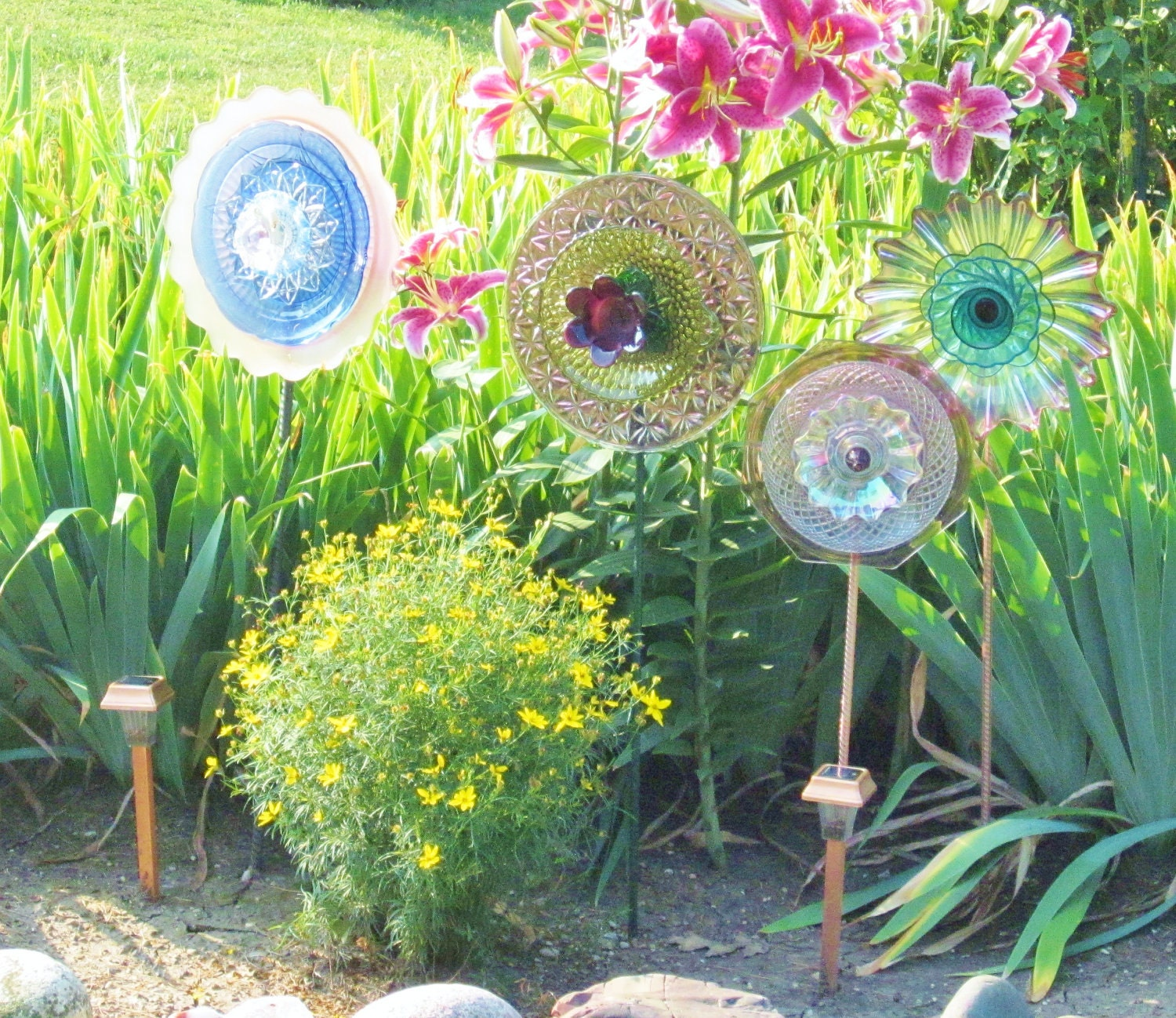 Unique garden decor yard art photograph sale recycled glas for Flower ideas for yard