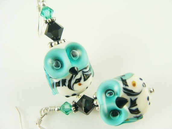 Owl Earrings, Glass Bead Earrings, Teal Dangle Earrings, Ivory Lampwork Earrings, Beaded Drop Earrings, Lampwork Jewelry