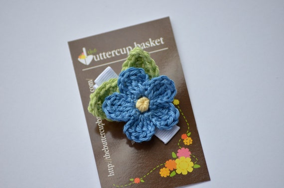 "Crochet Flower Clip, ""Forget Me Not"", azure blue flower with ginger green leaves"