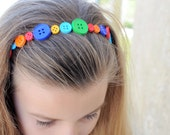 Multi-colored Button Headband, Perfect for Back to School - LittleCajunBowtique