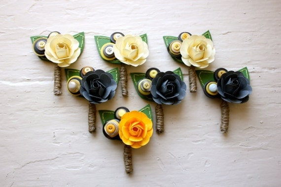 Paper Flower Boutonniere, Wedding, Grey, White, Yellow, Rose