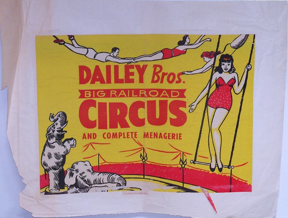 Dailey Bros Big Railroad Circus Poster by AmericasPast on Etsy